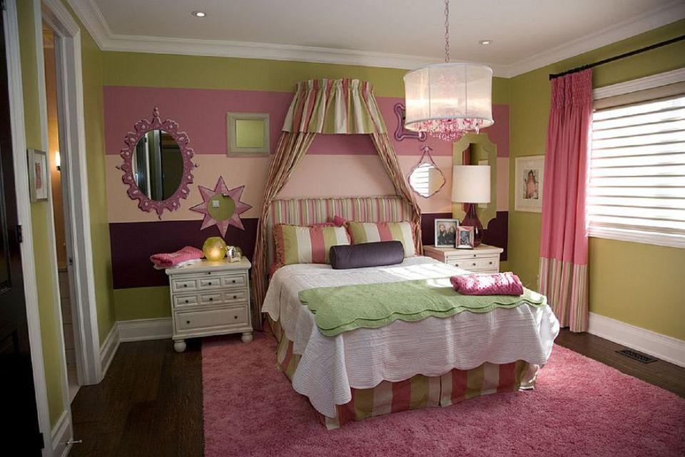 Pink and green girl's bedroom.