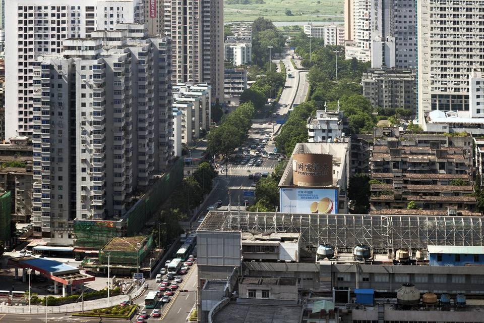 A high-angle view of Shennan Boulevard in Shenzhen