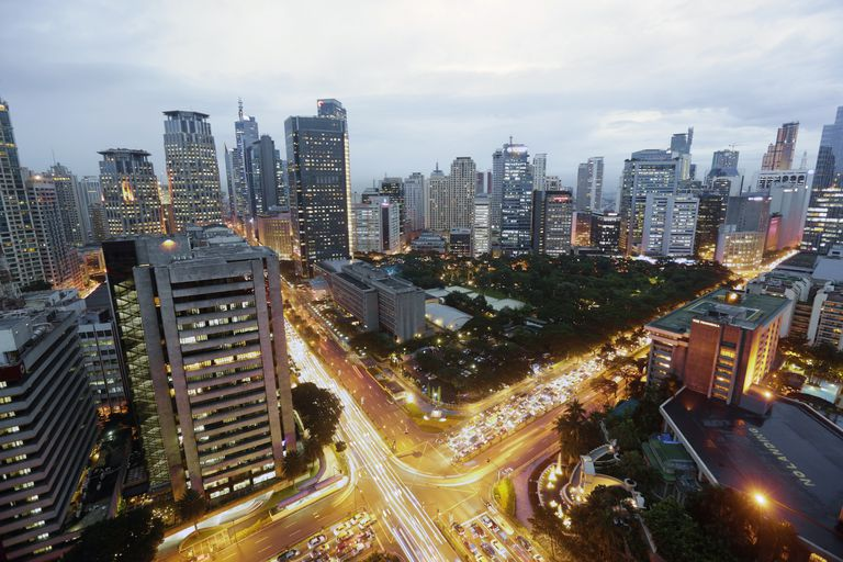 Downtown Manila Makati skyline and traffic