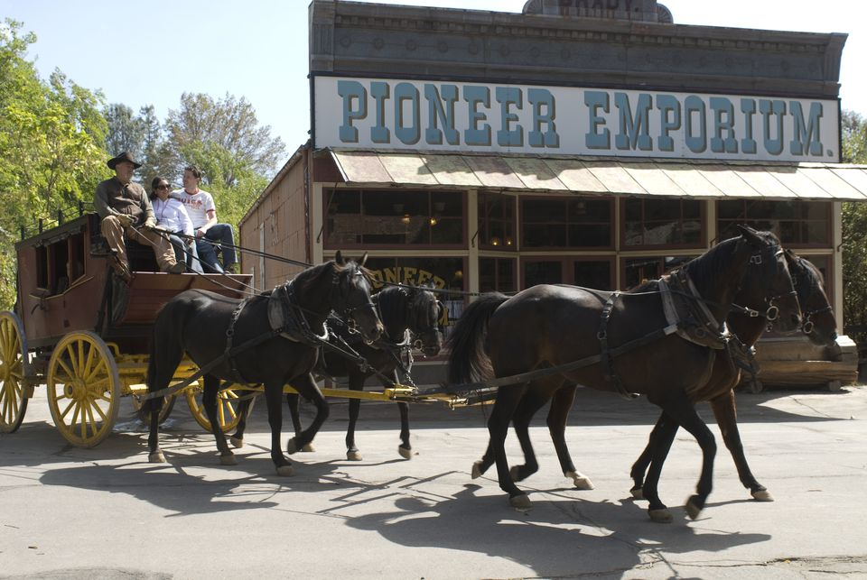 100 year old stagecoach on Main Street of Columbia State Historic Park in Northern California