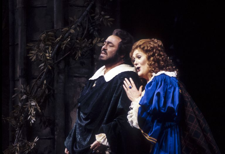 Dame Joan Sutherland and Luciano Pavarotti perform in the Metropolitan Opera production of Gaetano Donizetti's opera, Lucia di Lammermoor, on January 9, 1987. The opera is a great example of bel canto music.