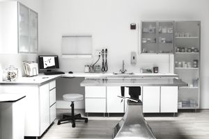 Empty veterinarian examination room