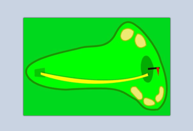 Illustration of draw show, curving to the left for a right-handed golfer