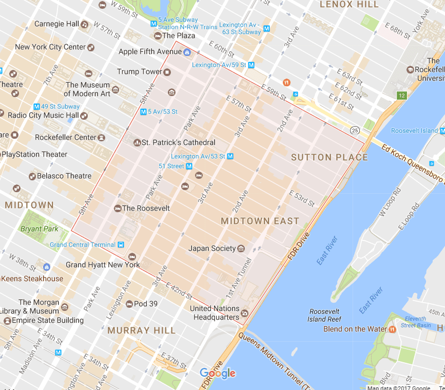 Midtown East NYC Map