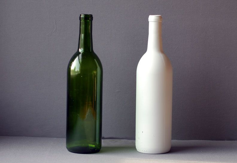 painted and unpainted wine bottles