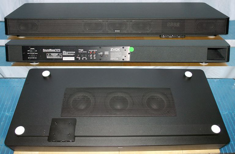 ZVOX SoundBase 670 Single Cabinet Surround Sound System - Front, Rear, and Bottom Views