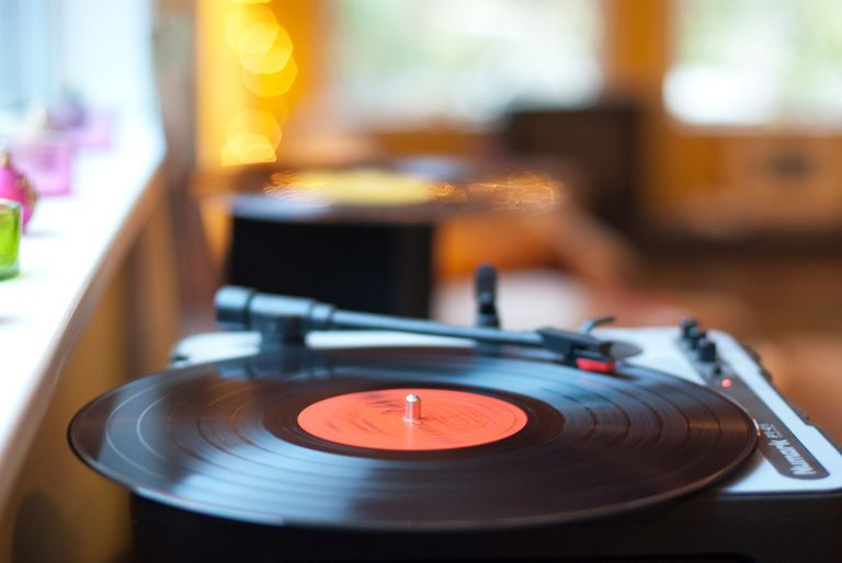 A record spinning on the turntable.