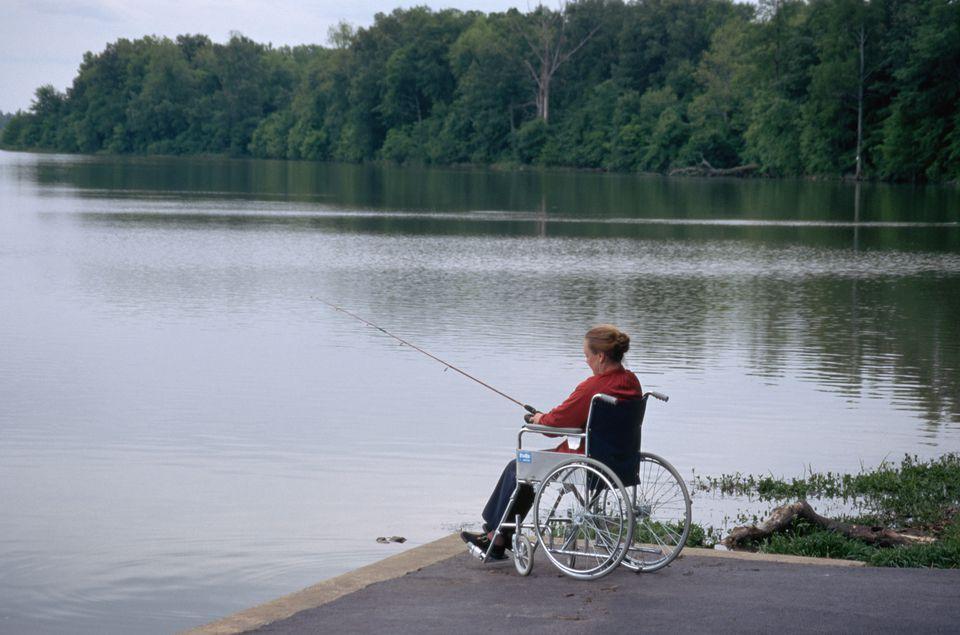 Woman in Wheelchair Fishing on Arkansas River