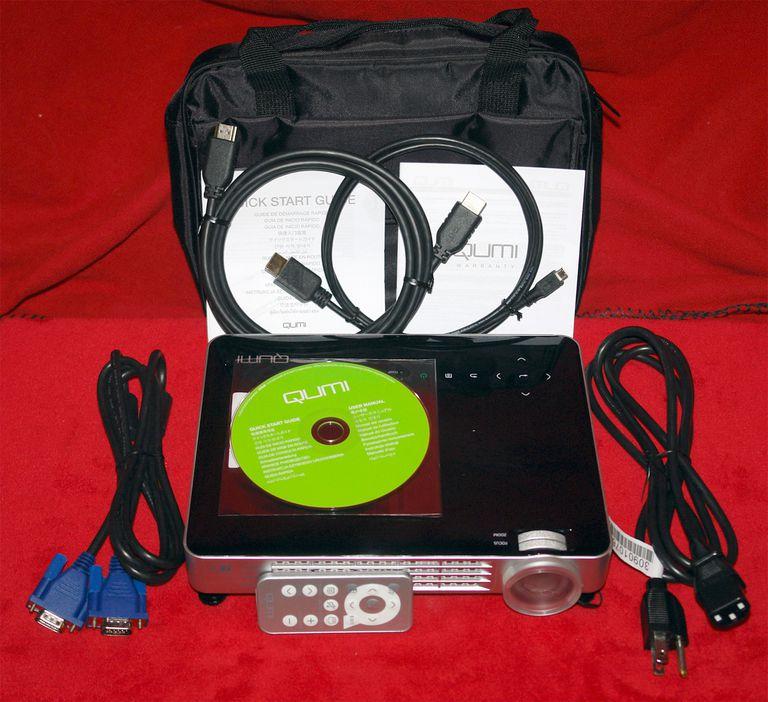 Vivitek Qumi Q7 Plus DLP Video Projector - Front View With Accessories