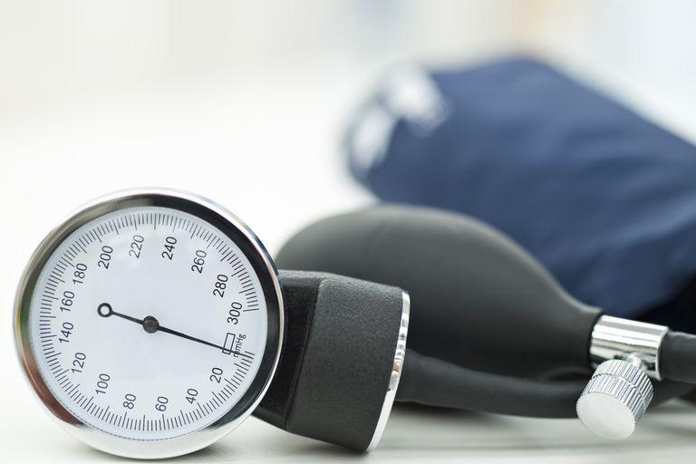 A blood pressure gauge and cuff.