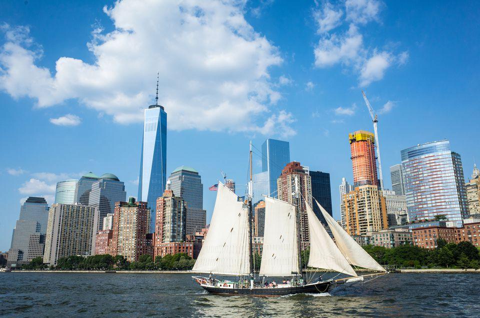 Sailing ship and Manhattan skyline, New York city
