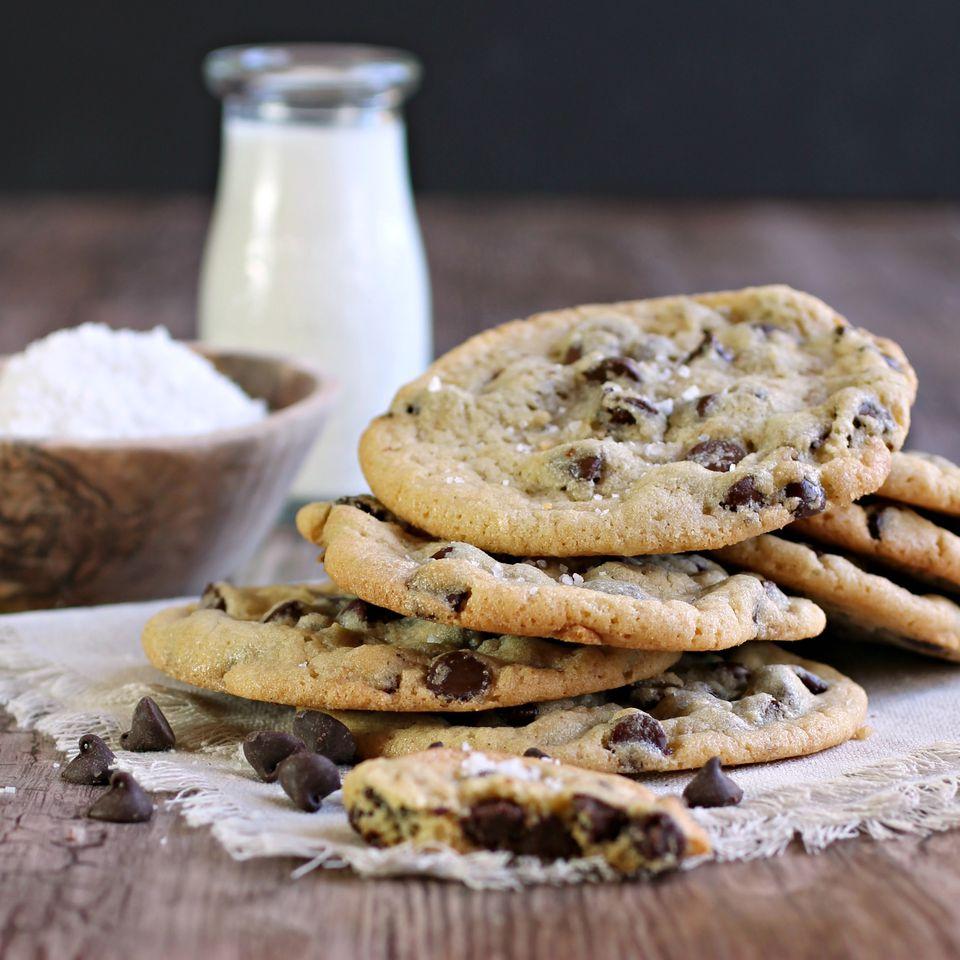 Salted Chocolate Chip Tahini Cookies