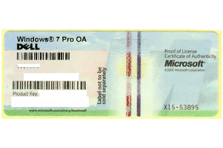 Picture of a Windows 7 Professional Product Key Sticker