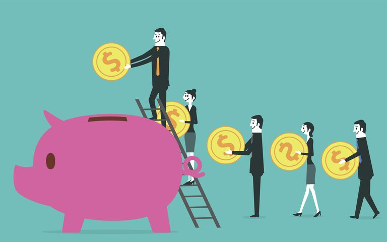 Illustration of people putting money in piggy bank