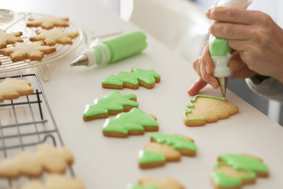 Decorating cookies.
