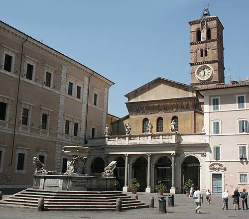 rome picture, trastevere, piazza