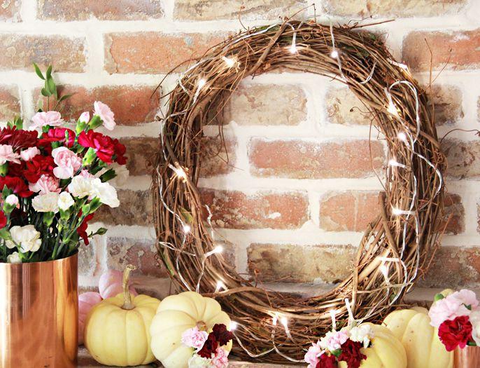 DIY Simple Lit Grapevine Wreath