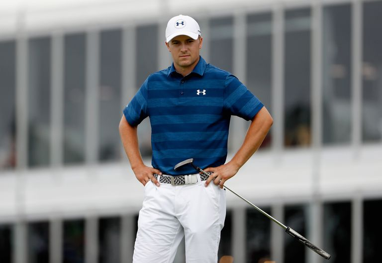 Jordan Spieth reacts to a missed putt