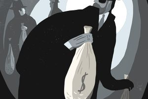 Businessmen stealing bags of money