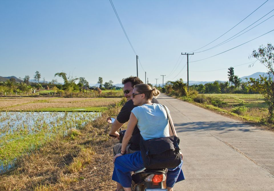 Driving to Pai, Thailand, on motorbike