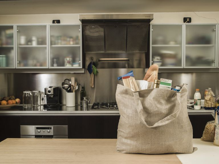 Bag of groceries on the counter