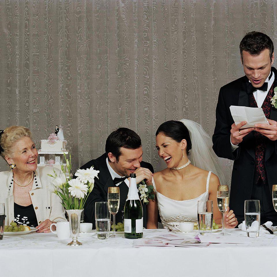The best man giving his speech at a wedding