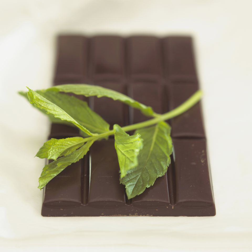 Chocolate with peppermint flavour, Close-up
