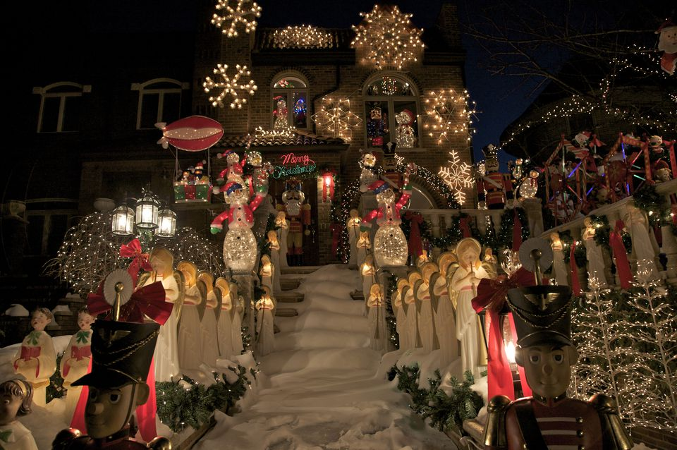 House ablaze in lights as part of Christmas display in Dyker Heights, Brooklyn, New York, U.S.A.