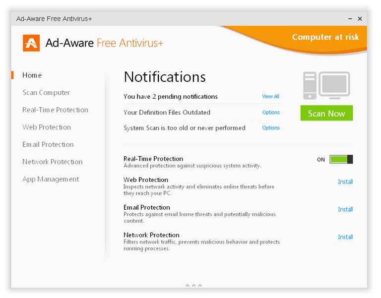 Screenshot of Ad-Aware Free Antivirus+