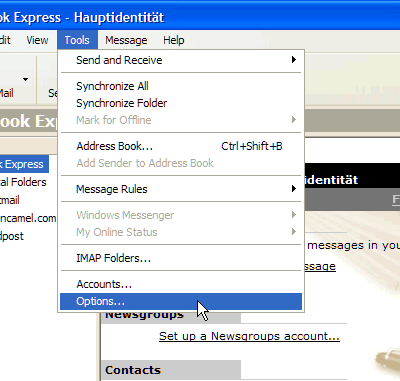 """Select """"Tools   Options..."""" from the menu"""