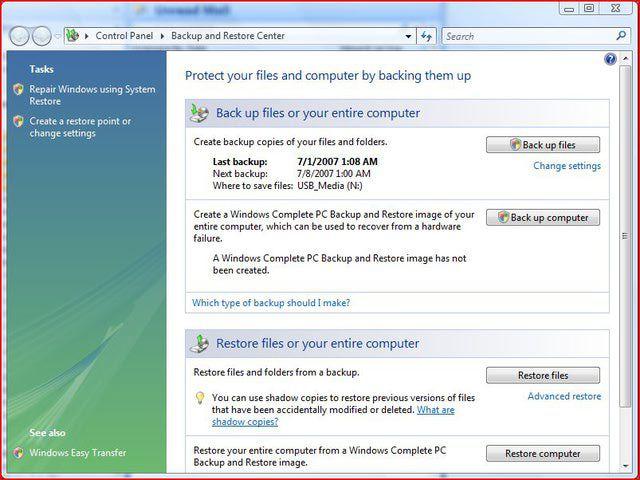 Windows Vista Backup and Restore Center