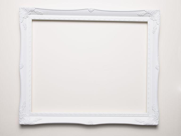 Empty white frame on a white background