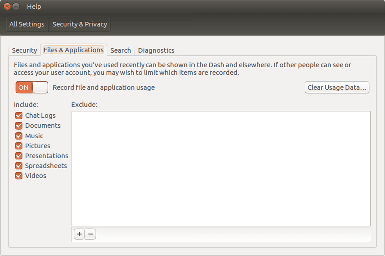 Clear Ubuntu Search History