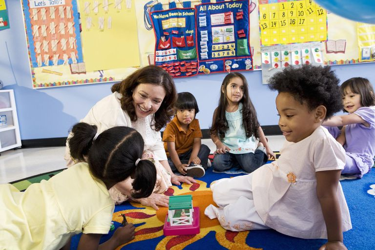 Teacher teaching in classroom.