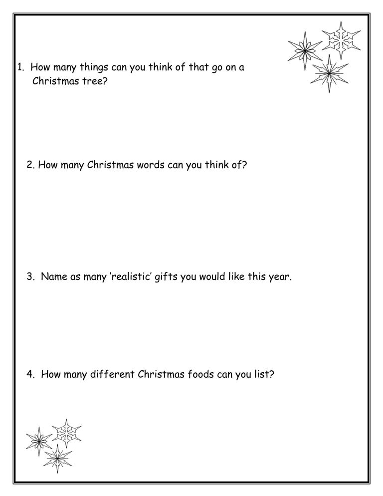 Christmas Activities Worksheets and Lesson Plans – Christmas Activity Worksheets