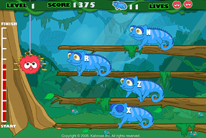 Racing lizards typing game