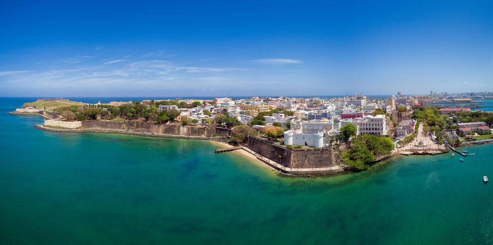 Aerial view over San Juan Old Town, Puerto Rico.