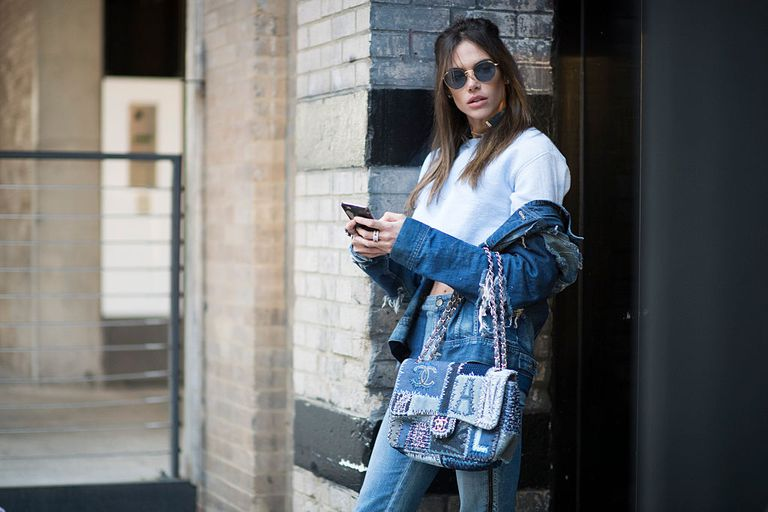 Street style denim on denim outfit