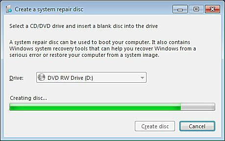 A screenshot of Windows 7 creating a system repair disc