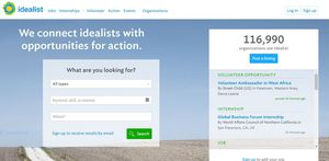 Home page of Idealist.