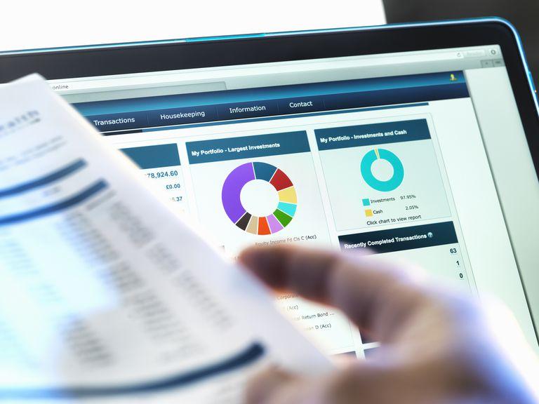 nvestor checking performance of financial portfolio