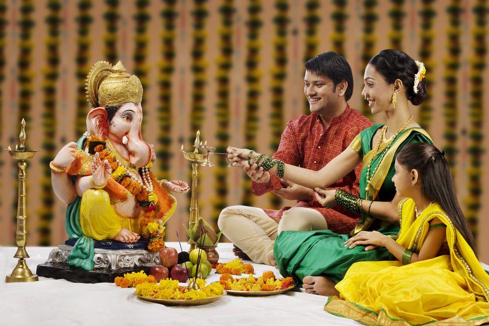 Family during Ganesh festival.