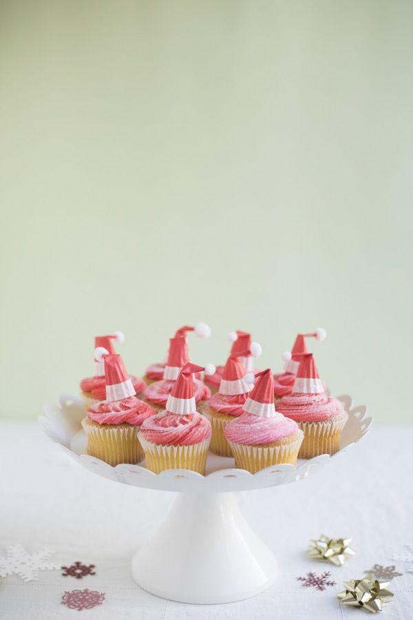 DIY Santa Hat Cupcake Toppers