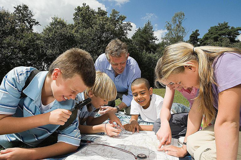 Teacher and pupils looking at map