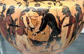 Peleus and Atalanta wrestling, black-figured hydria, ca. 550 BC, Staatliche Antikensammlungen