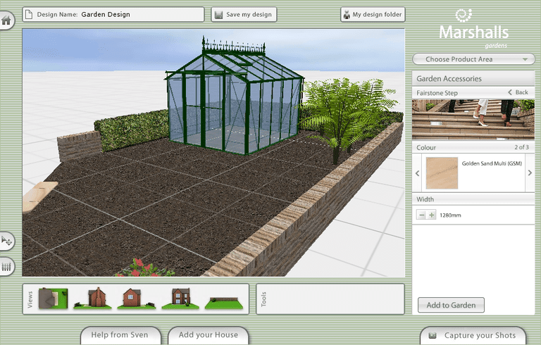 Screenshot of a garden plan designed using Marshalls Garden Visualiser