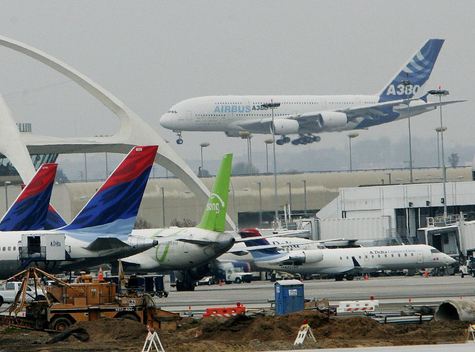 Airbus Lands New A380 Plane At LAX Airport