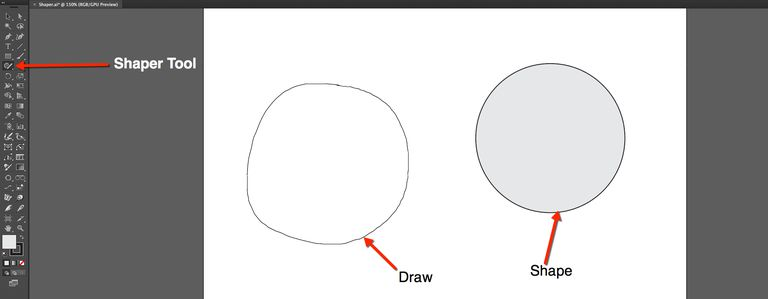image shows freehand circle on the left and perfect circle create by the Shaper tool on the right.