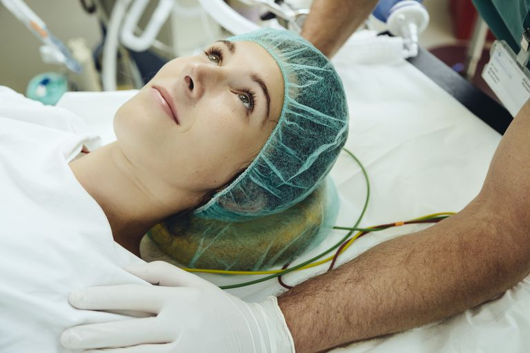 Woman prepared for surgery
