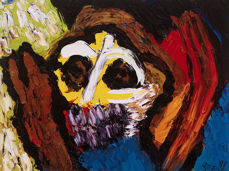 Colorful painting of mask by Karel Appel